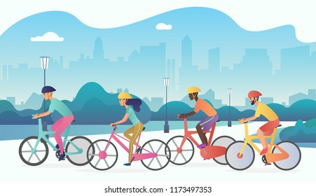 Cyclists sport people riding bicycles in public city park. Trendy radient color vector illustration.