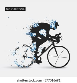 Cyclists. Vector eps10 illusration. Particle divergent composition