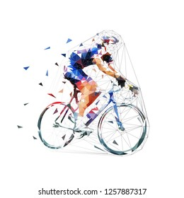 Cycllist in blue jersey riding bike. Road cycling. Low polygonal isolated vector illustration. Side view