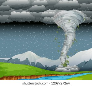 Cyclone in the nature illustration
