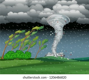 Cyclone in the rainy storm illustration