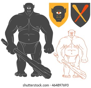 Cyclops with a club Illustration For Heraldry Or Tattoo Design Isolated On White Background. Heraldic Symbols And Elements