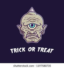Cyclops halloween monster illustration