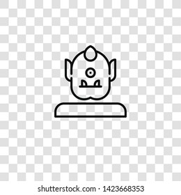 cyclops icon from FANTASTIC CHARACTERS collection for mobile concept and web apps icon. Transparent outline, thin line cyclops icon for website design and mobile, app development