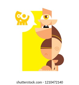 The cyclops on a yellow background