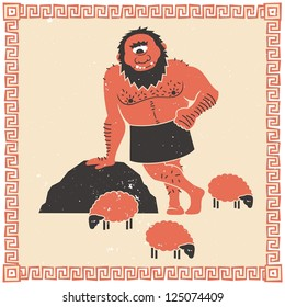 The Cyclops Polyphemus (who captured Odysseus) with his flock of sheep.