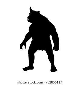Cyclops silhouette monster villain fantasy. Vector illustration.