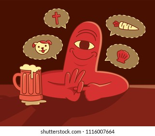 A cyclops is talking on the pub about sexual poses.