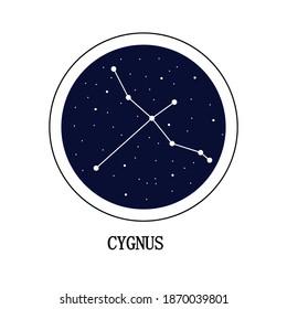 Cygnus constellation, a cluster of celestial bodies against a dark blue starry sky. Vector EPS10.