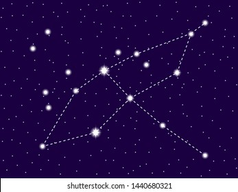 Cygnus constellation. Starry night sky. Cluster of stars and galaxies. Deep space. Vector illustration