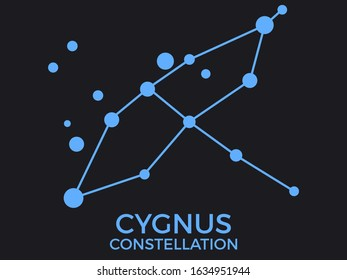 Cygnus constellation. Stars in the night sky. Cluster of stars and galaxies. Constellation of blue on a black background. Vector illustration