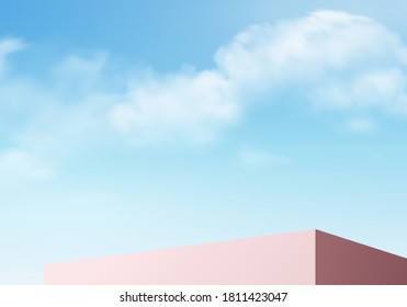 Cylinder abstract minimal scene with geometric platform. Summer cloud background vector 3d rendering with podium. stand to show cosmetic products. Stage Showcase on pedestal modern 3d studio blue sky