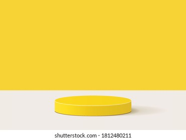 Cylinder background abstract minimal scene with yellow geometric platform. Summer background vector 3d rendering with podium. stand to show products. Stage Showcase on pedestal modern 3d yellow studio