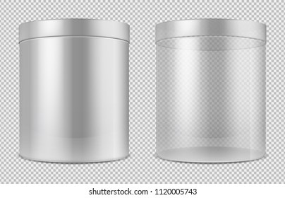 Cylinder empty transparent glass and white cans. Package for food, cookies and gifts vector template isolated. Illustration of cylinder empty and clean