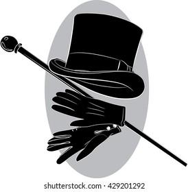 Cylinder hat, gloves and walking stick, vector illustration