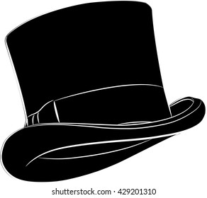 Cylinder hat isolated on white, vector illustration