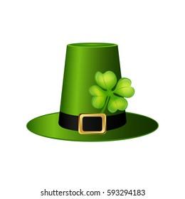 Cylinder hat leprechaun with clover leaf for St. Patrick