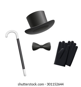 Cylinder hat, tie, gloves and walking stick isolated on white background. Vector Image Stock.