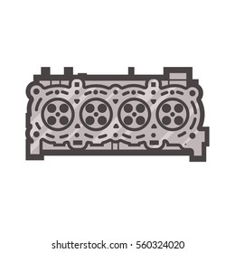 Cylinder head icon on white background, car detail