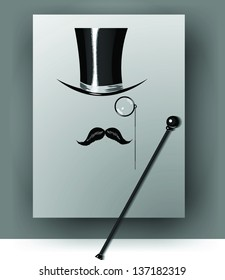 Cylinder, moustache, monocle and cane on grey background. Vector illustration