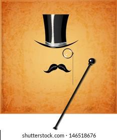 Cylinder, moustache, monocle and cane on vintage background. Vector illustration