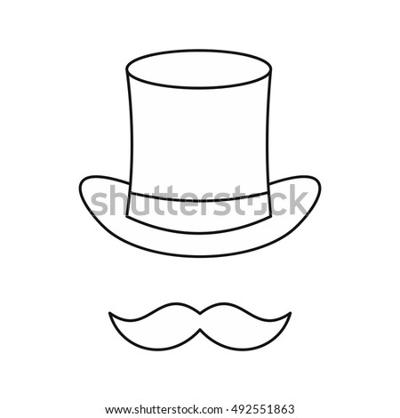 4a7803176f2cb Cylinder and moustaches icon in outline style isolated on white background.  Headgear symbol vector illustration