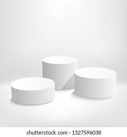Cylinder Podium scene or round pillar stand scene and winner pedestal in studio on vector gray or white minimal background - Vector