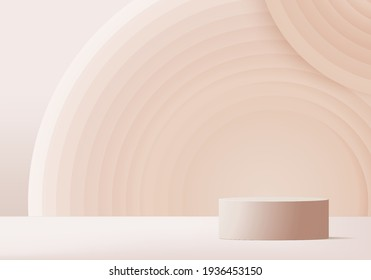 Cylinder product minimal scene with platform. Summer background vector 3d rendering with podium. stand to show cosmetic products background. Stage backdrop on pedestal modern 3d studio beige product  - Shutterstock ID 1936453150