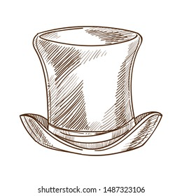Cylinder, retro fashion design of tall hat isolated sketch male headdress or vintage accessory vector. Gentlemans garment drawing, head covering or headwear. Mens wear, old-fashioned vogue style