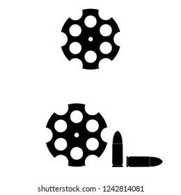 cylinder of a revolver, logo on white background