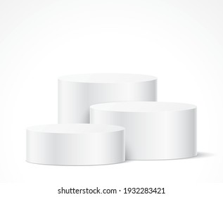 Cylinder shape white elegant pedestals for an object, or product presentation. An abstract aesthetic scene with geometric form podiums. Vector stage template.