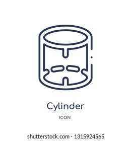 cylinder volumetric icon from shapes outline collection. Thin line cylinder volumetric icon isolated on white background.