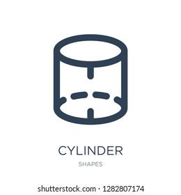 cylinder volumetric icon vector on white background, cylinder volumetric trendy filled icons from Shapes collection, cylinder volumetric vector illustration