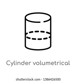 cylinder volumetrical vector line icon. Simple element illustration. cylinder volumetrical outline icon from shapes concept. Can be used for web and mobile