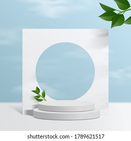 Cylinder white podium mock up with sky background and paper leaves. product presentation, mock up, scene to show cosmetic product, Podium, stage pedestal or platform. simple clean design 3d vector