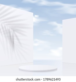 Cylinder white podium mockup with sky background and shadow leaves. product presentation, mock up, scene to show cosmetic product, Podium, stage, pedestal or platform. simple clean design, 3d vector