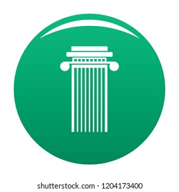 Cylindrical column icon. Simple illustration of cylindrical column vector icon for any design green