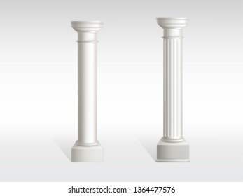 Cylindrical columns of white marble with smooth, textured pillar surfaces realistic vector isolated on white background with shadow. Antique architecture, historical building exterior design element