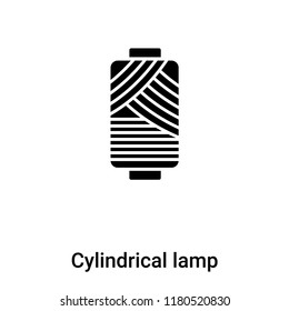 Cylindrical lamp icon vector isolated on white background, logo concept of Cylindrical lamp sign on transparent background, filled black symbol