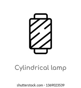 cylindrical lamp vector line icon. Simple element illustration. cylindrical lamp outline icon from woman clothing concept. Can be used for web and mobile
