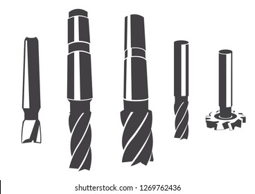 Cylindrical milling cutter for various types of milling. Set of vector icons