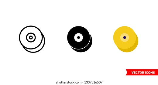 Cymbals icon of 3 types: color, black and white, outline. Isolated vector sign symbol.