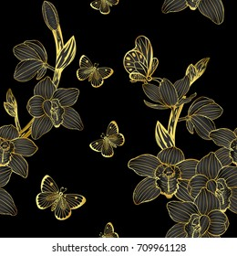 Cymbidium orchids pattern by hand drawing.