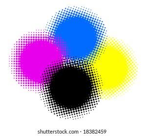 cymk color halftones
