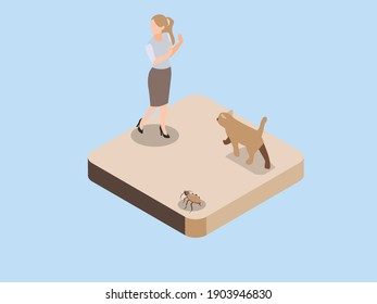 Cynophobia 3D isometric vector concept for banner, website, illustration, landing page, flyer, etc