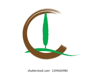 Cypress icon. Simple illustration of cypress vector icon for web. Italian silhouette cypress trees the typical Tuscan landscape. Ecology Logo design  Vector isolated or white background
