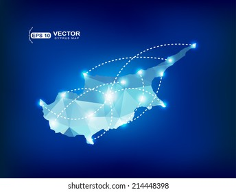 Cyprus country map polygonal with spot lights places