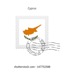 Cyprus Flag Postage Stamp on white background. Vector illustration.