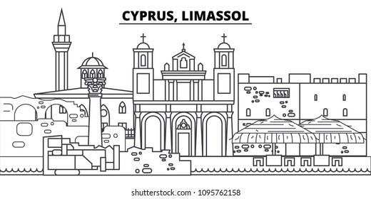 Cyprus, Limassol line skyline vector illustration. Cyprus, Limassol linear cityscape with famous landmarks, city sights, vector landscape.
