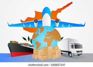 Cyprus logistics concept illustration. National flag of Cyprus from the back of globe, airplane, truck and cargo container ship